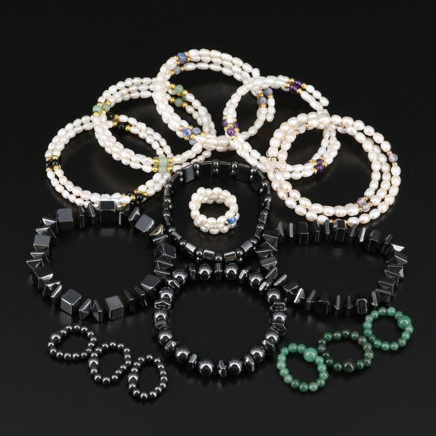 Gemstone Rings and Bracelets Featuring Pearl, Amethyst and Imitation Hematite