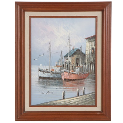 W. Jones Oil Painting of Harbor Scene, Late 20th Century