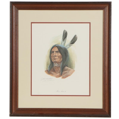 "John A. Ruthven Offset Lithograph ""Miami Indian II,"" Late 20th Century"