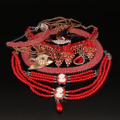 Costume Jewelry Featuring Glass and Enamel Accents
