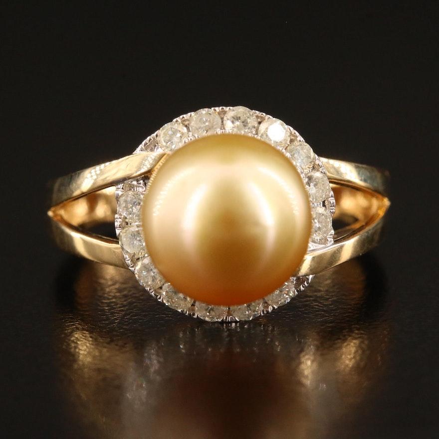18K Pearl and Diamond Split Shank Ring