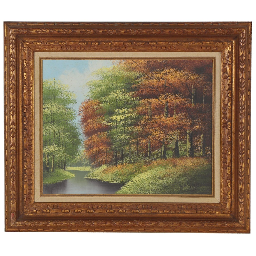 Oil Painting of Lush Forest Landscape, Late 20th Century
