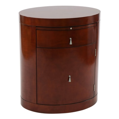 Baker Furniture Mahogany Veneer Side Table with Storage