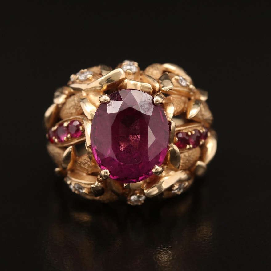 14K Rhodolite, Ruby and Diamond Foliate Ring with Euro Shank