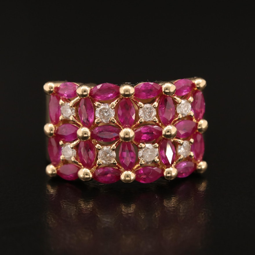14K Ruby and Diamond Tapered Band