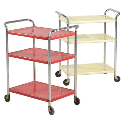 Two Cosco Mid Century Modern Rolling Utility Carts in Red and Yellow, 1950s