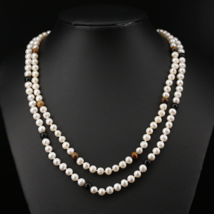 Pearl with Tiger's Eye and Pearl with Resin Necklaces with 14K Clasp
