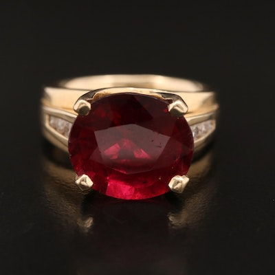 14K 7.72 CT Tourmaline and Channel Set Diamond Cathedral Ring