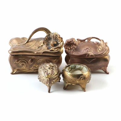 Art Nouveau Gilt Metal Caskets, Late 19th/ Early 20th Century