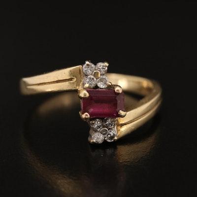 14K Garnet and Diamond Bypass Ring