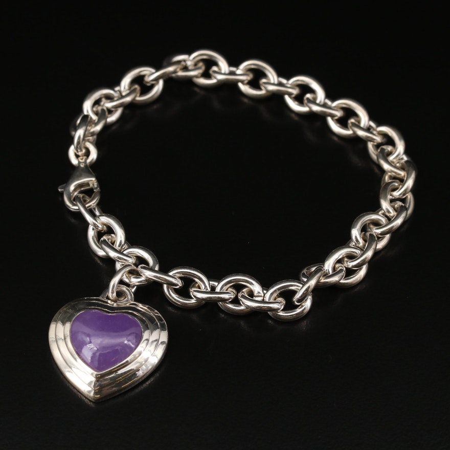 Sterling Silver Jadeite Heart Bracelet