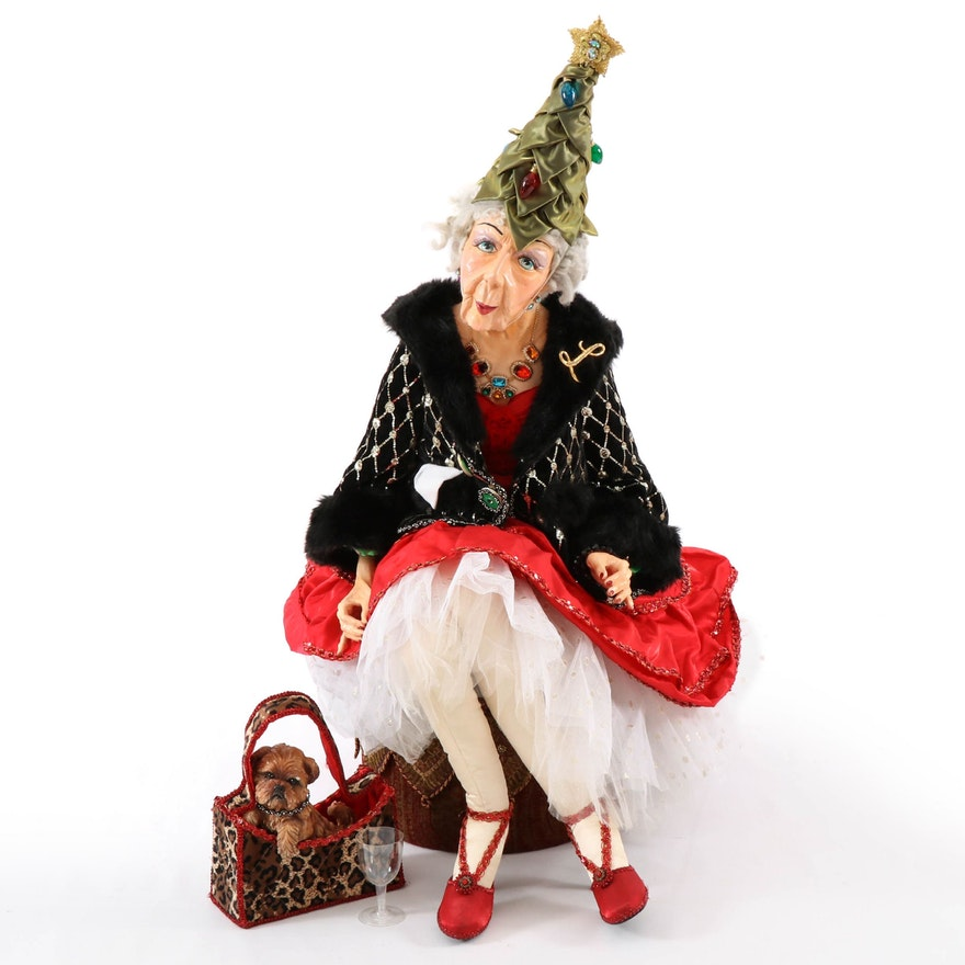 Life-Size Holiday Party Guest Doll with Hand-Painted Face and Accessories