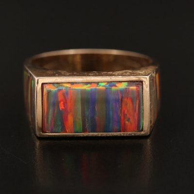 14K Opal Rectangular Ring with Inlaid Accents