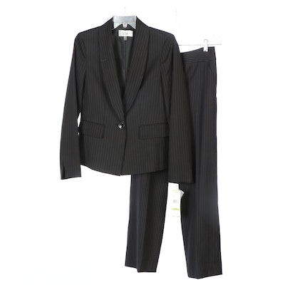 Le Suit Pinstriped Blazer with Signature by Larry Levine Pinstriped Trousers