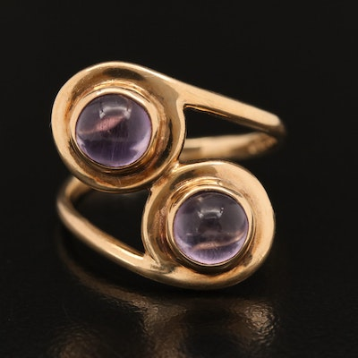 Vintage 9K Amethyst Bypass Ring