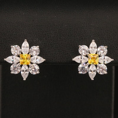 Sterling Silver Cubic Zirconia Floral Button Earrings