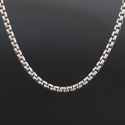 David Yurman Sterling Box Chain with 14K Gold Tag