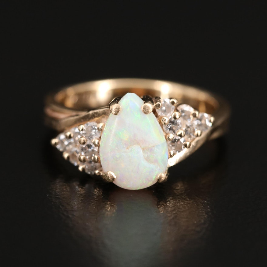 14K Opal and Diamond Ring