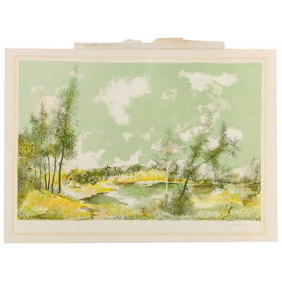Jean Trouselle Color Lithograph of Green Landscape