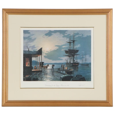 "John Stobart Offset Lithograph ""Embarking on the Voyage Home in 1850,"" 1988"