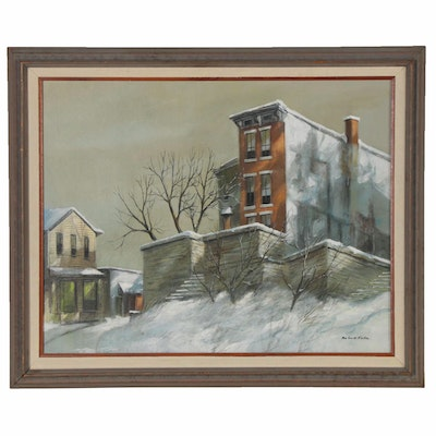 Robert Fabe Oil Painting of Residential Winter Scene, Late 20th Century