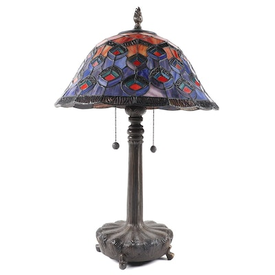 Dale Tiffany Patinated Cast Metal Lamp with Peacock Feathers Glass Shade