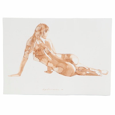 Inga Khanarina Watercolor Painting of Female Nude, 2020