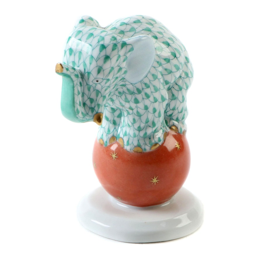 "Herend Green Fishnet with Gold ""Elephant on Ball"" Porcelain Figurine"