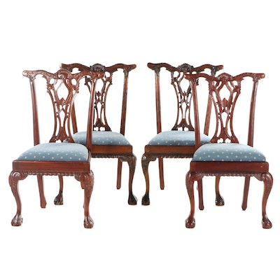 Four Chippendale Style Mahogany Dining Chairs, Early to Mid 20th C.