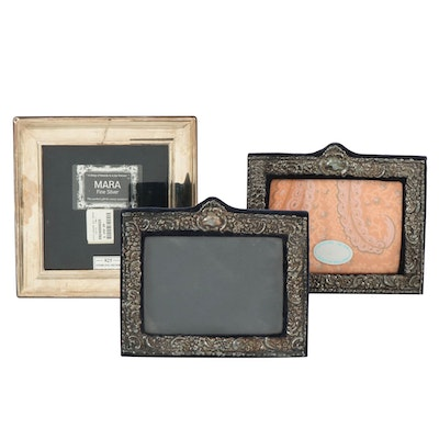 English Repoussé And Caars Sterling Silver Picture Frame, Late 20th Century