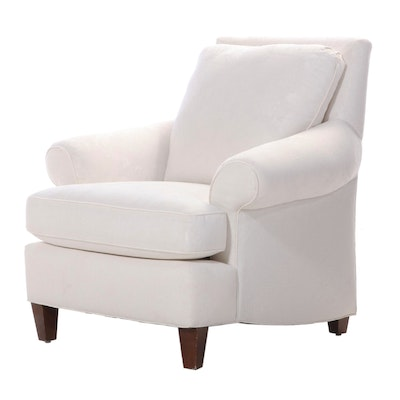 Contemporary Upholstered White Linen Armchair