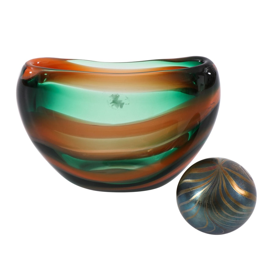 """J. Ditchfield """"Glasform"""" Paperweight and Other Art Glass Vase, 20th Century"""