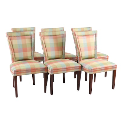 "Six Hickory Chair Co. ""Flair Back"" Silk Upholstered Plaid Dining Chairs"