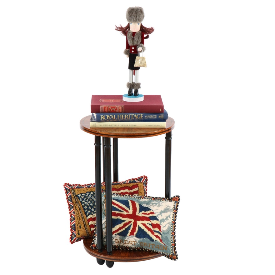 Wood Veneer Table, Needlepoint Pillows and British-Themed Coffee Table Books