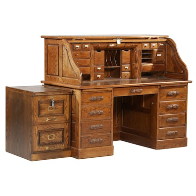 Postmaster Oak Roll Top Desk with File Cabinet, Mid to Late 20th Century