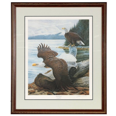 """John Ruthven Offset Lithograph """"Bald Eagle at Misty Fjords,"""" Late 20th Century"""