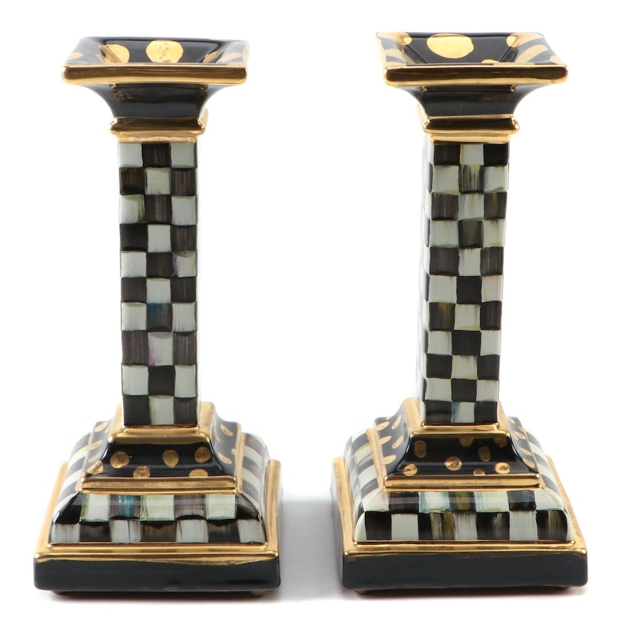 """Pair of MacKenzie-Childs """"Courtly Check"""" Candlesticks, 2008"""