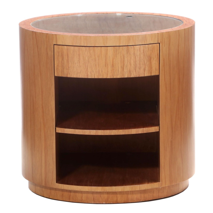 Gina B Furniture Contemporary Round Rotating End Table with Glass Insert Top
