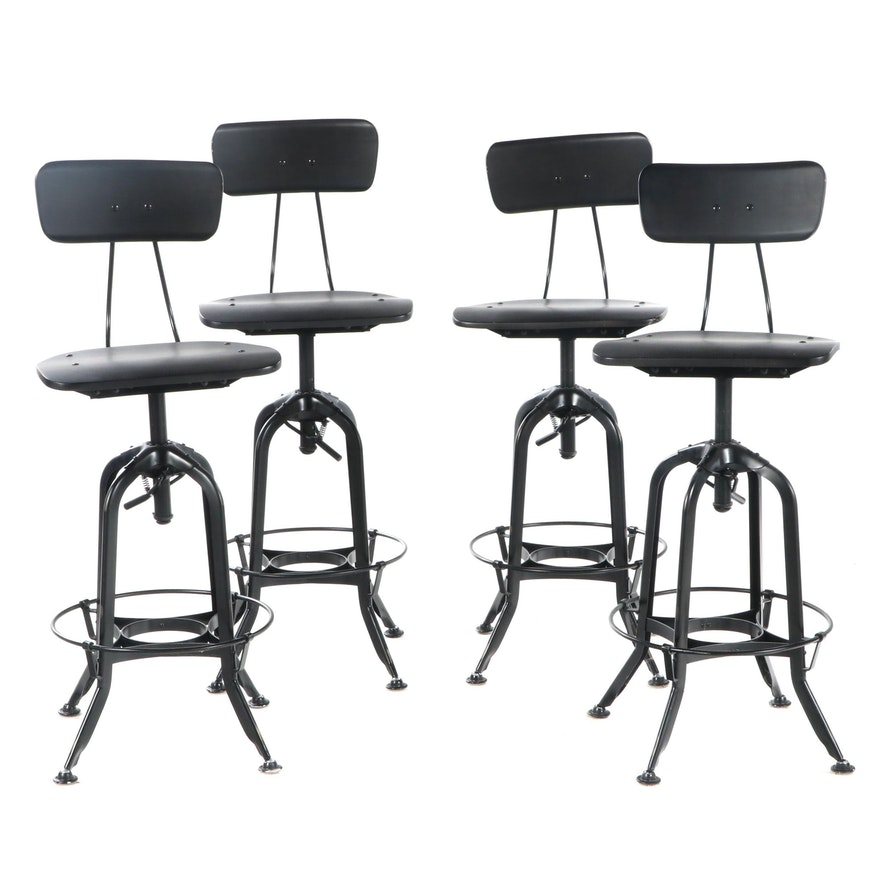 Four Contemporary Industrial Style Adjustable Height Stools