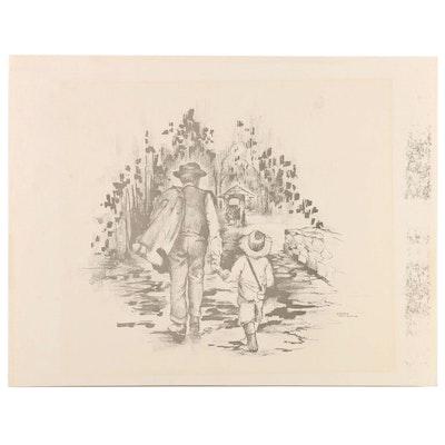 Barbara Hess Mercier Lithograph of Man and Boy