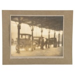 """William Amos Albumen Photograph """"Taxi Stand, Union Station"""""""