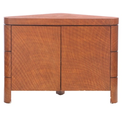 Art Deco Style Lacquered Wood Short Corner Cabinet, 21st Century