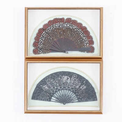 East Asian Folding Fans with Sequin and Feather Embellishments