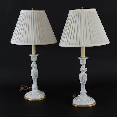Neoclassical Style Blanc de Chine Table Lamps, Late 20th Century