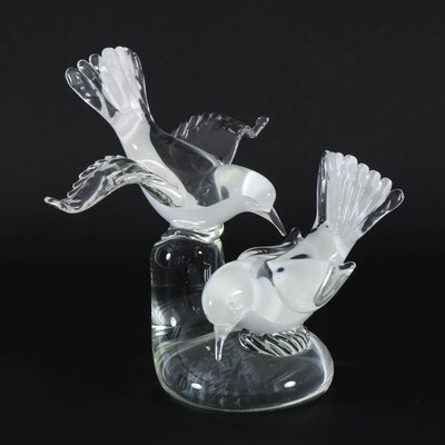 Hand-Blown Glass Bird Sculpture, Mid-20th Century