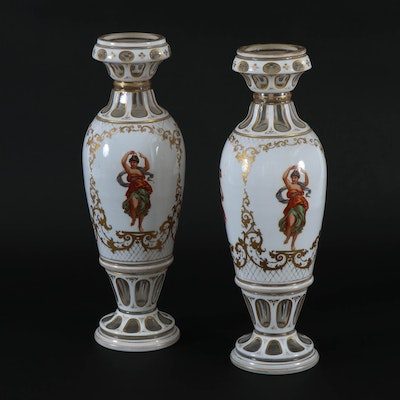 Bohemian Cased Glass Vases with Hand-Painted Grecian Musicians, Antique