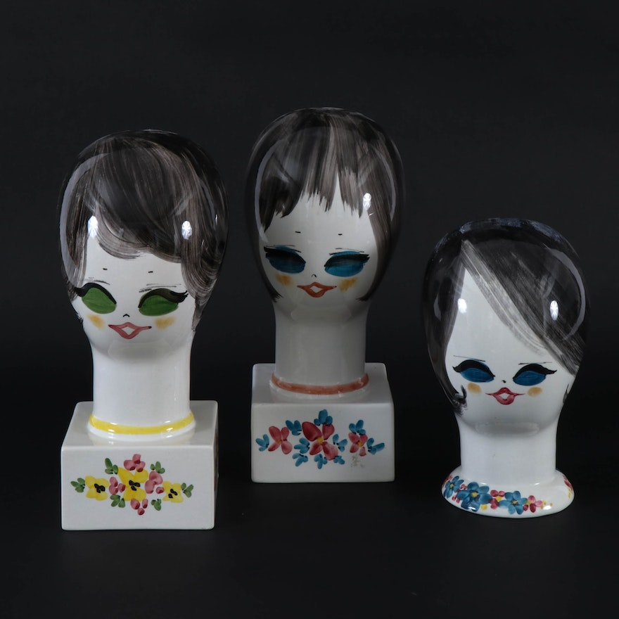 Italian Hand-Painted Ceramic Women's Head Hat or Wig Stands, Mid-20th Century