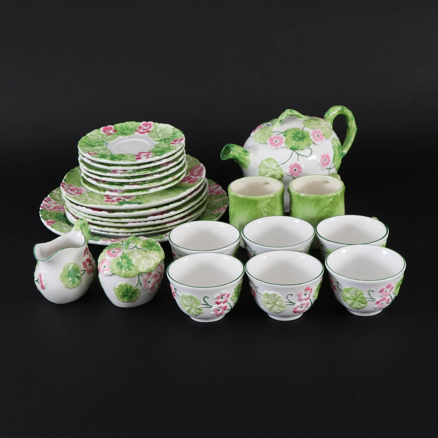 Hand-Painted Ceramic Tea Service with Pink Flowers, Late 20th Century