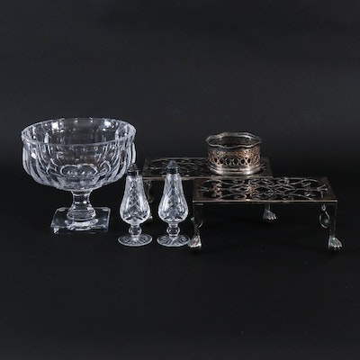 Crystal Compote, Silver Plate Footed Trivets and Other Table Accessories