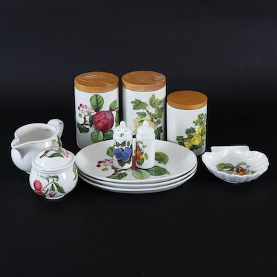 "Portmeirion ""Pomona"" Porcelain Canisters and Serveware, Late 20th Century"